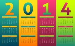 Calendario variopinto 2014 Royalty Illustrazione gratis