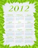 Calendario verde 2012 Fotografía de archivo libre de regalías