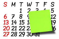 Calendario verde in bianco frontale di Post-it di Post-it Fotografie Stock