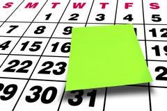 Calendario verde en blanco del post-it del post-it de la perspectiva Fotografía de archivo