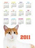 Calendario vertical del color por 2011 años Imagen de archivo libre de regalías
