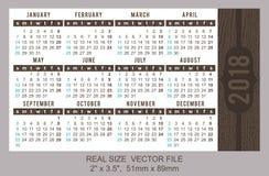 Calendario 2018, vettore, inizio della tasca la domenica Fotografia Stock Libera da Diritti