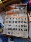 Calendario viejo fotografía de archivo libre de regalías