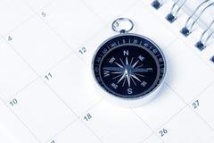 Calendario y compás Imágenes de archivo libres de regalías