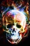 Calendario y cráneo mayas antiguos, efecto de fuego del wirt del cráneo Fondo abstracto del color Imagenes de archivo