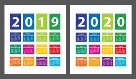 Calendario 2019 y 2020 del color a partir de domingo Vector Fotografía de archivo