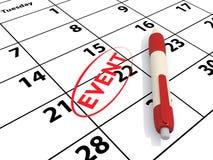 Calendario y evento imagen de archivo libre de regalías