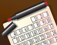Calendario y una etiqueta de plástico roja libre illustration