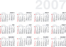 Calendario2007_2h. 2007 Calendar - Horizontal Orientation Vector Illustration