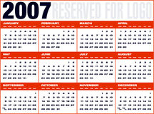 Calendario9 cuadricula. 2007 Calendar (with space reserved for logotype Royalty Free Stock Photo