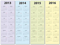 Calendarios 2013 -2016 Imágenes de archivo libres de regalías