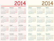 2014 calendarios Fotografía de archivo