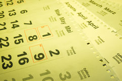 Calendarios Fotografía de archivo