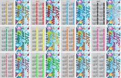 Calendarios coloridos determinados del bolsillo para 2017 Fotografía de archivo