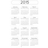 CalendarRound. Vector calendar planner schedule 2015 week starts with monday european stile date in cercle Stock Images
