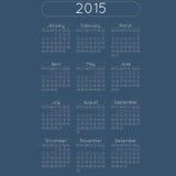 CalendarRound. Vector calendar planner schedule 2015 week starts with monday european stile date in cercle Stock Photos