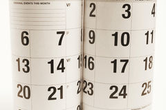 Calendars. Close Up of Calendars in Warm Tone Stock Images