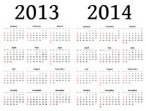 Calendars for 2013 and 2014 Stock Image