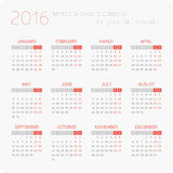 Calendars for 2016. Calendar for 2016 on White Background. Week Starts Monday. Simple Vector Template Stock Photo