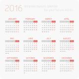 Calendars for 2016 royalty free illustration