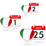 Calendars and dates of italy Stock Photography