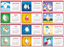 Calendars for each month in 2015 with active sheep Royalty Free Stock Photo