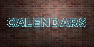 CALENDARS - fluorescent Neon tube Sign on brickwork - Front view - 3D rendered royalty free stock picture. Can be used for online banner ads and direct mailers Royalty Free Stock Images