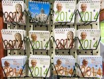 Calendars in gift shop Vatican Royalty Free Stock Photos