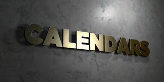 Calendars - Gold text on black background - 3D rendered royalty free stock picture. This image can be used for an online website banner ad or a print postcard Stock Photos