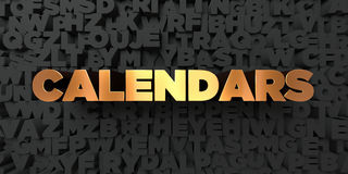 Calendars - Gold text on black background - 3D rendered royalty free stock picture. This image can be used for an online website banner ad or a print postcard Royalty Free Stock Photography