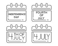 Calendars icons set for the Independence Day Royalty Free Stock Photography