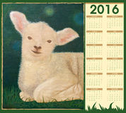 Calendars 2016 with a lamb painting Royalty Free Stock Images