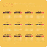 Calendars for 2016 Orange. Calendar for 2016 on White Background. Week Starts Monday. Simple Vector Template Stock Images