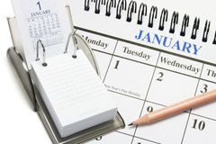 Calendars and Pencil royalty free stock image