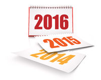 Calendars 2016 and 2015 and 2014. Red calendars 3D Renders in White background Stock Photos