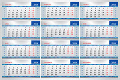 Calendars 2016. Set of calendars for every month in 2016 Stock Photos