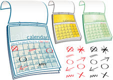 Calendars. Three different calendars, with no specific months or years on it, so can be used for any time period. E.P.S. 10 vector file included with image vector illustration