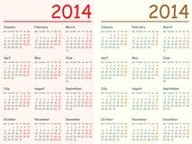 2014 Calendars. Vector illustration of 2014 calendars. Eps10, English, Monday to Sunday Stock Photography