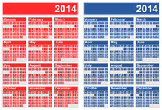 2014 Calendars. Vector illustration of 2014 calendars in two different color versions Royalty Free Stock Image