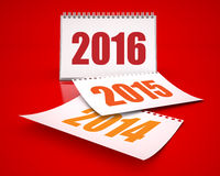 Calendars 2016 and 2015 and 2014. Whithe calendars 3D Renders in red background stock illustration
