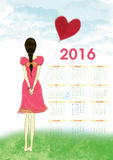 Calendars 2016 Woman with heart red balloon Royalty Free Stock Photos