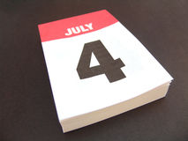 Calender. Black and red calender with date of July 4 stock photos