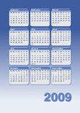 Calender 2009. Blue 2009 calender with all the month Royalty Free Stock Image