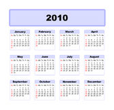 Calender 2010 Royalty Free Stock Photography