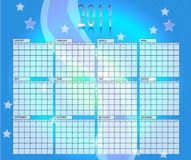 Calender 2011. Blue  calender of year 2011 Royalty Free Stock Photos
