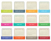Calender for 2011. In square design with tabs isolated on white Stock Photos