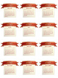 Calender for 2011. With red and gold ribbons isolated on white vector illustration