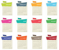 Calender for 2012. In square design with tabs isolated on white Stock Photos