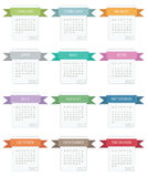 Calender for 2012. In square design with ribbons isolated on white Stock Photos
