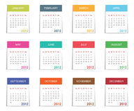 Calender for 2012. In square design with tabs isolated on white stock illustration